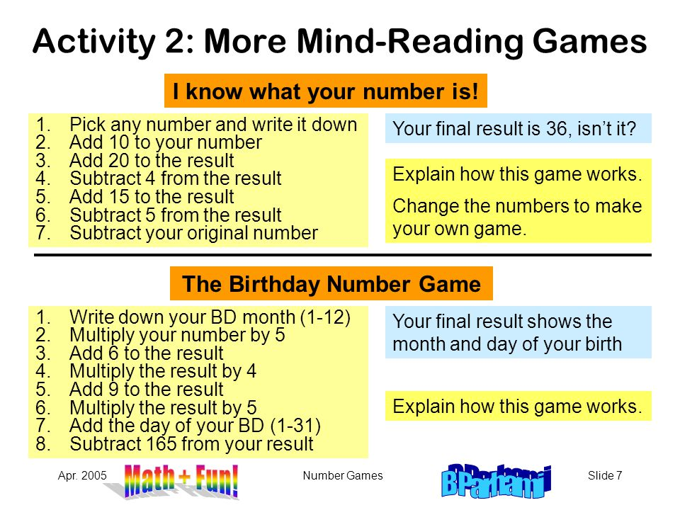 Activity 2: More Mind-Reading Games