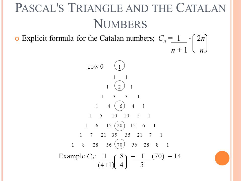 Pascal s Triangle and the Catalan Numbers