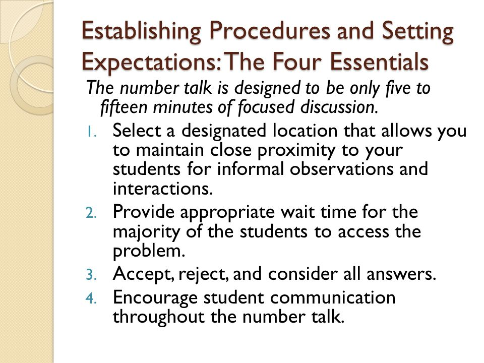 Establishing Procedures and Setting Expectations: The Four Essentials