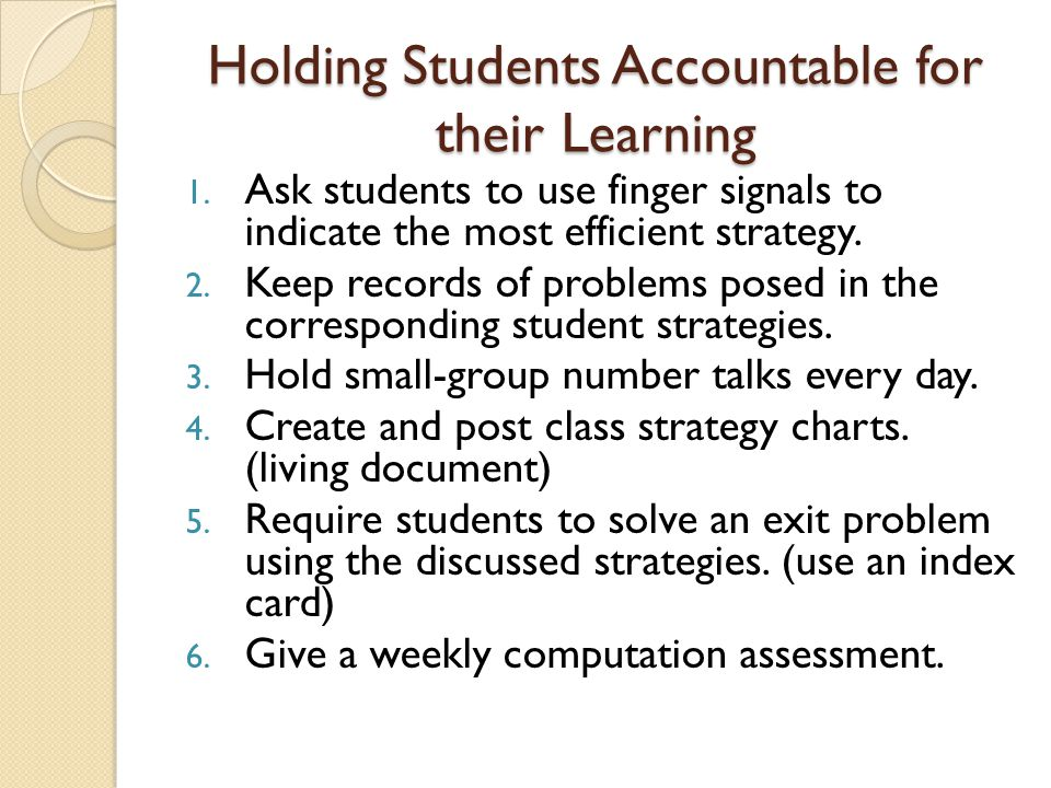 Holding Students Accountable for their Learning