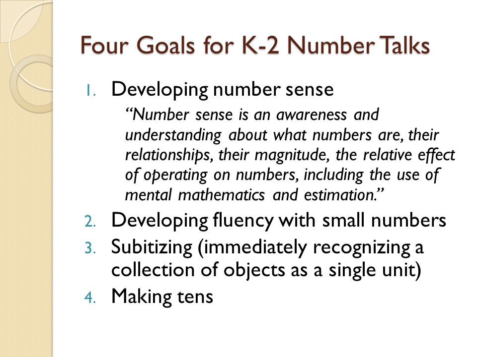 Four Goals for K-2 Number Talks