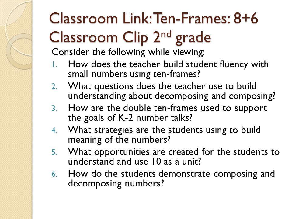 Classroom Link: Ten-Frames: 8+6 Classroom Clip 2nd grade