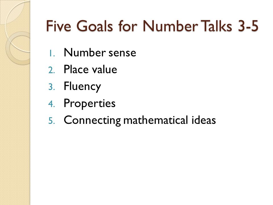 Five Goals for Number Talks 3-5
