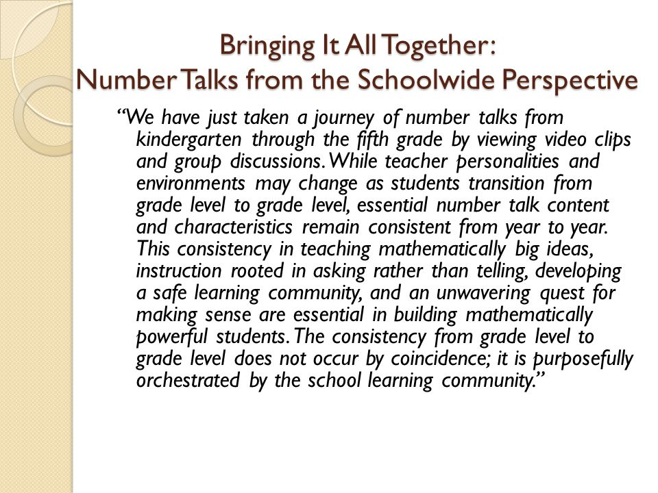 Bringing It All Together: Number Talks from the Schoolwide Perspective