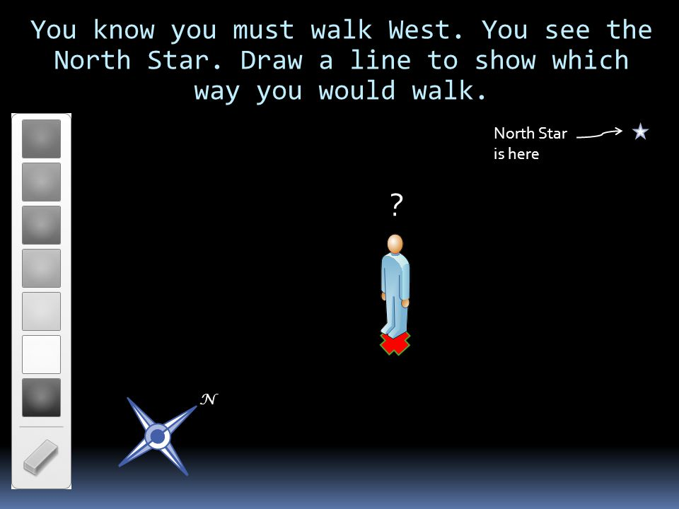 You know you must walk West. You see the North Star