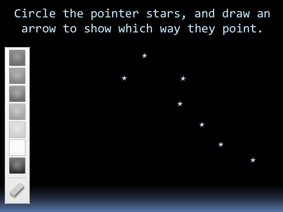 Circle the pointer stars, and draw an arrow to show which way they point.