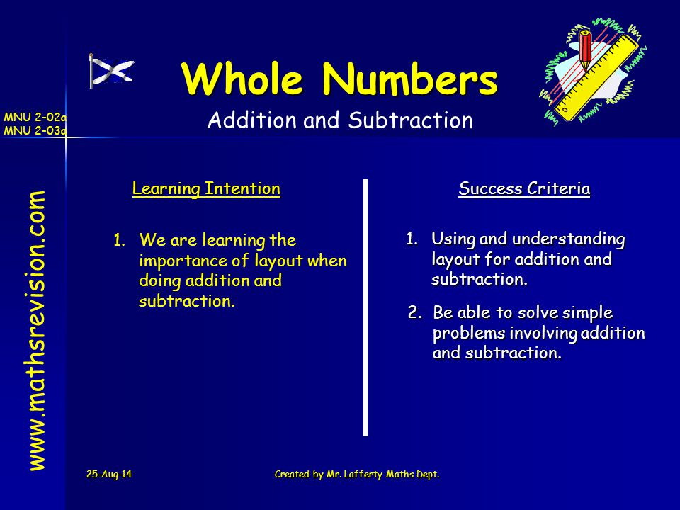 Whole Numbers www.mathsrevision.com Addition and Subtraction