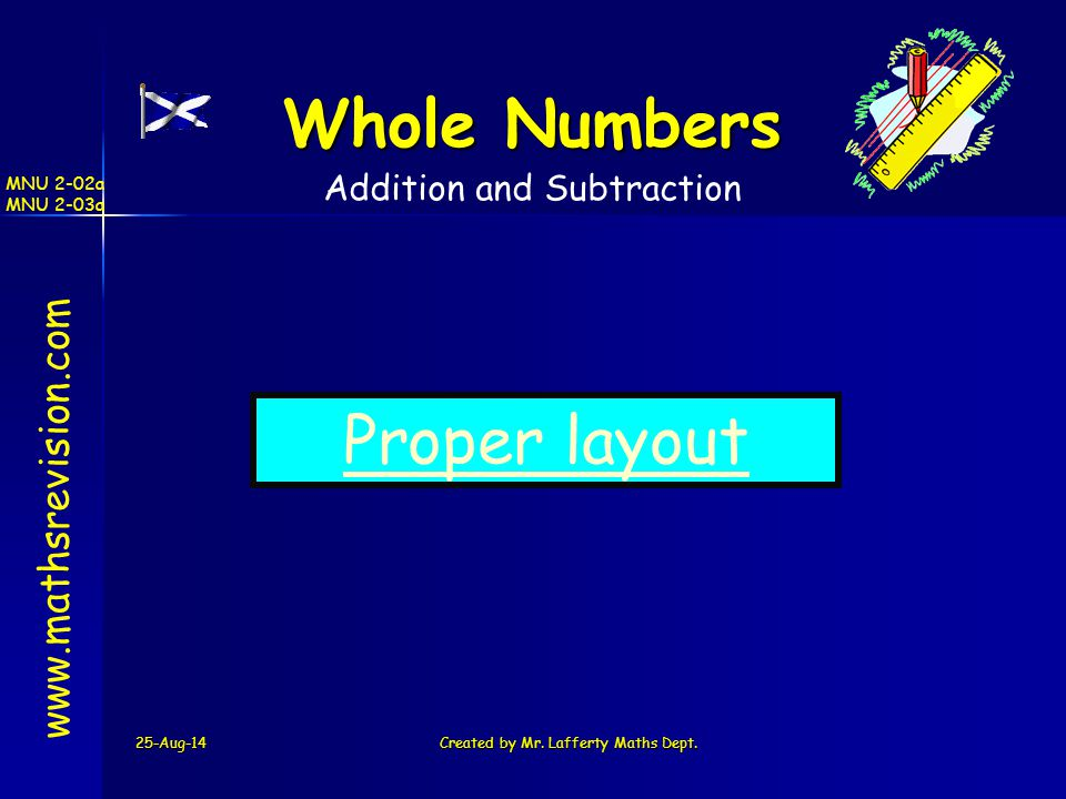 Whole Numbers Proper layout www.mathsrevision.com