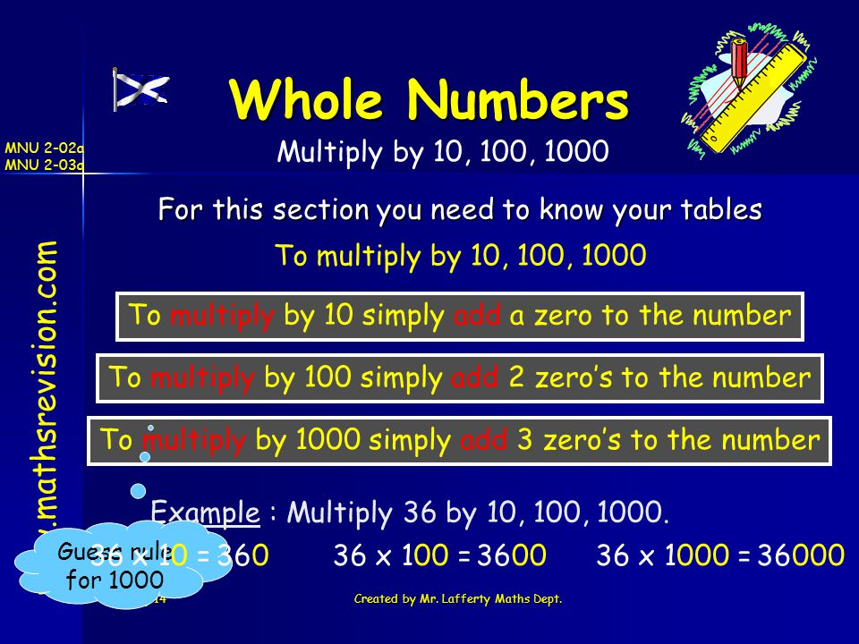Whole Numbers www.mathsrevision.com Multiply by 10, 100, 1000