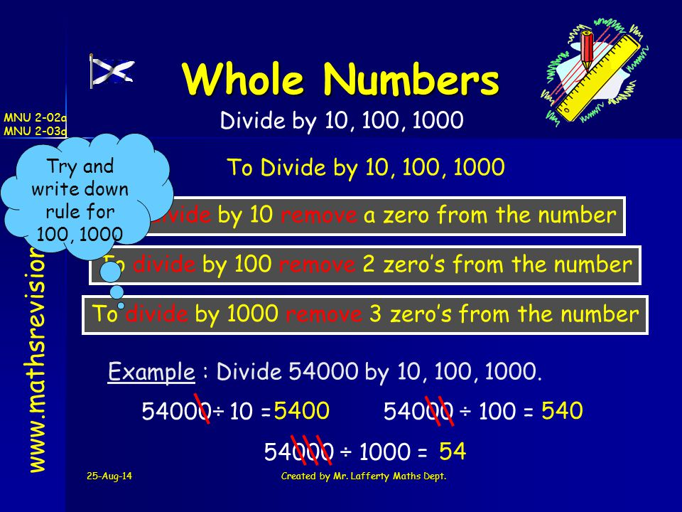 Whole Numbers   Divide by 10, 100, 1000