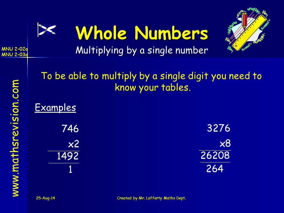 Whole Numbers www.mathsrevision.com Multiplying by a single number