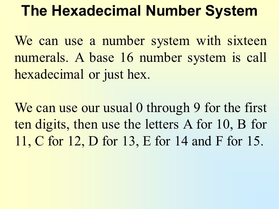 The Hexadecimal Number System