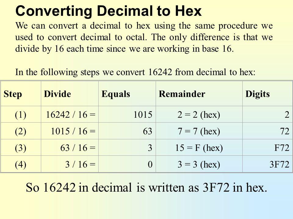 So 16242 in decimal is written as 3F72 in hex.