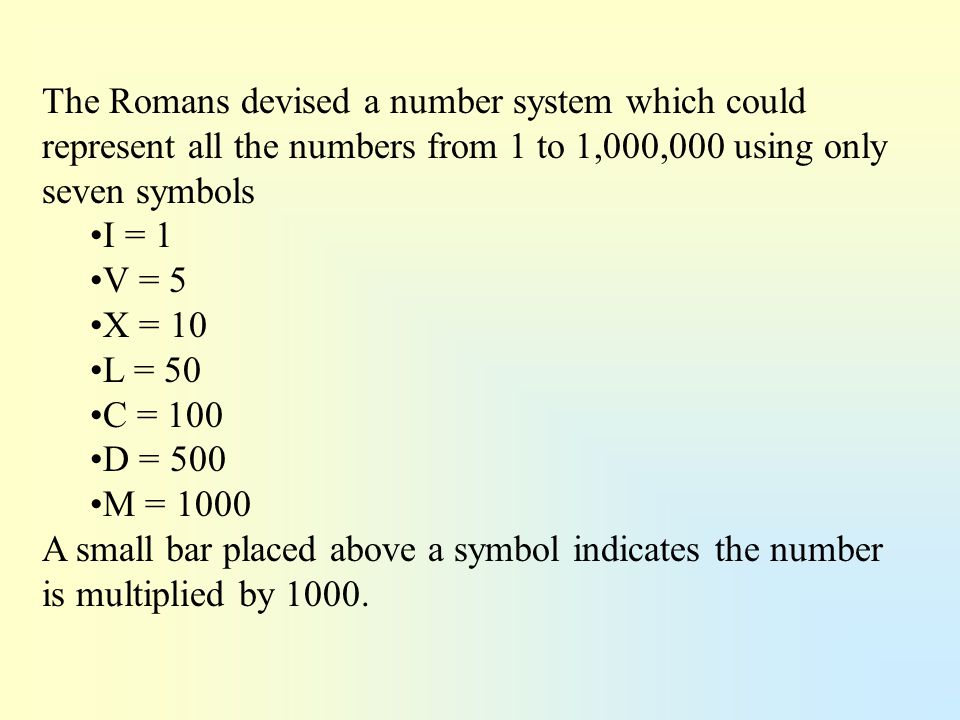 The Romans devised a number system which could represent all the numbers from 1 to 1,000,000 using only seven symbols