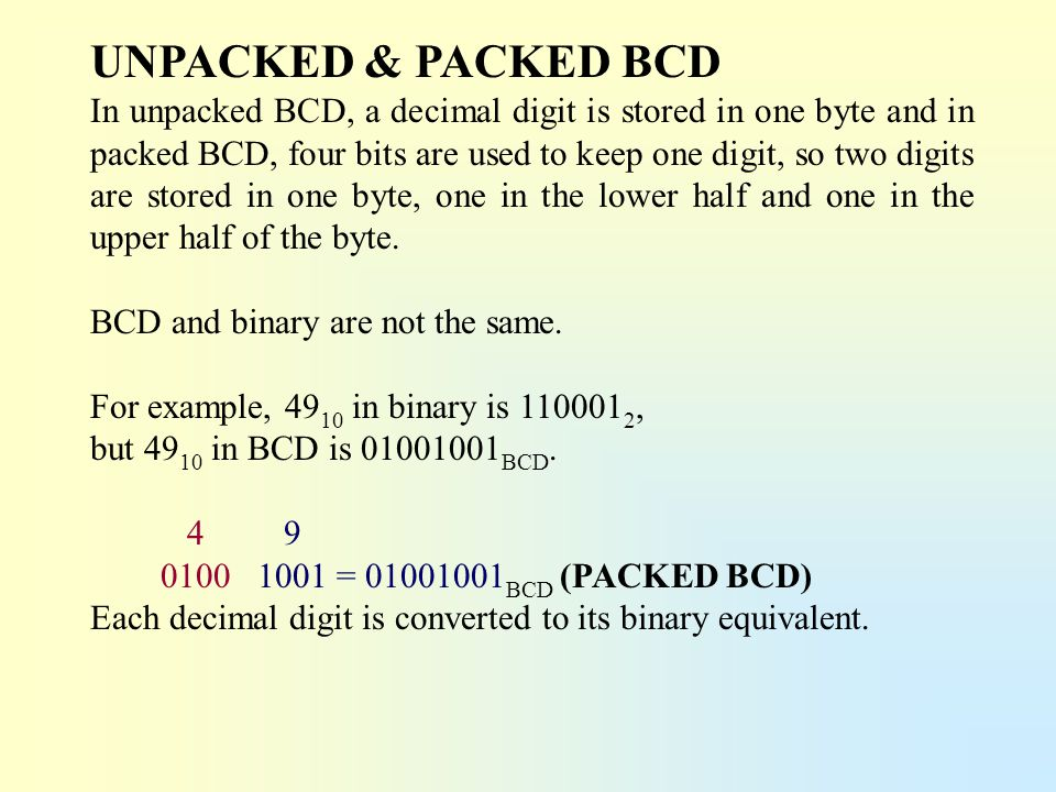 UNPACKED & PACKED BCD