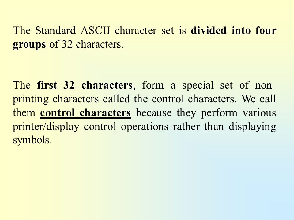 The Standard ASCII character set is divided into four groups of 32 characters.
