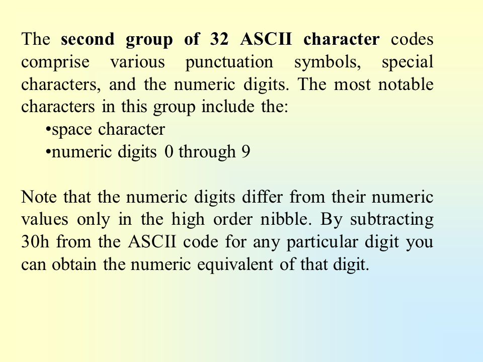 The second group of 32 ASCII character codes comprise various punctuation symbols, special characters, and the numeric digits. The most notable characters in this group include the: