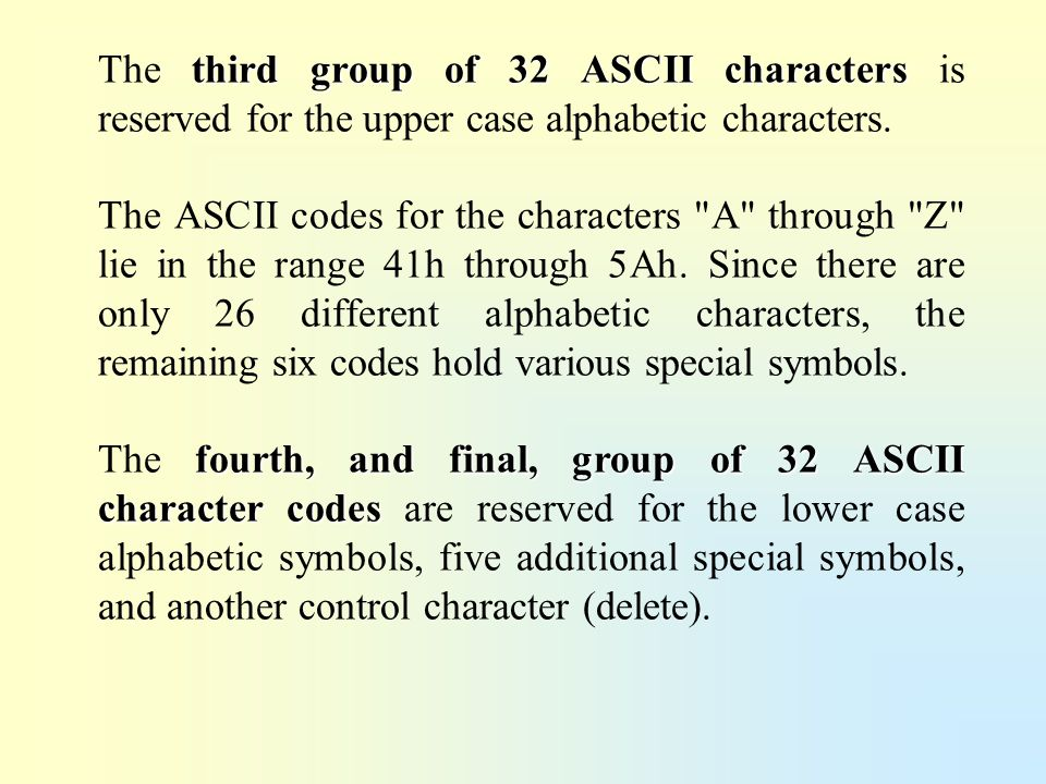 The third group of 32 ASCII characters is reserved for the upper case alphabetic characters.