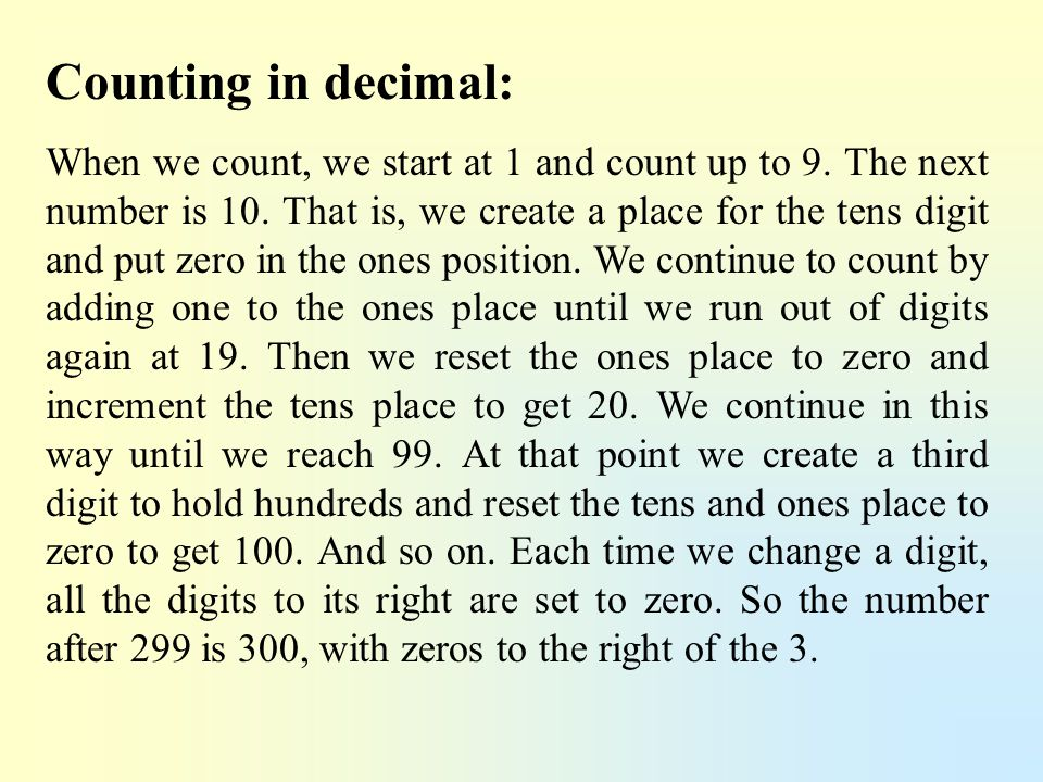 Counting in decimal: