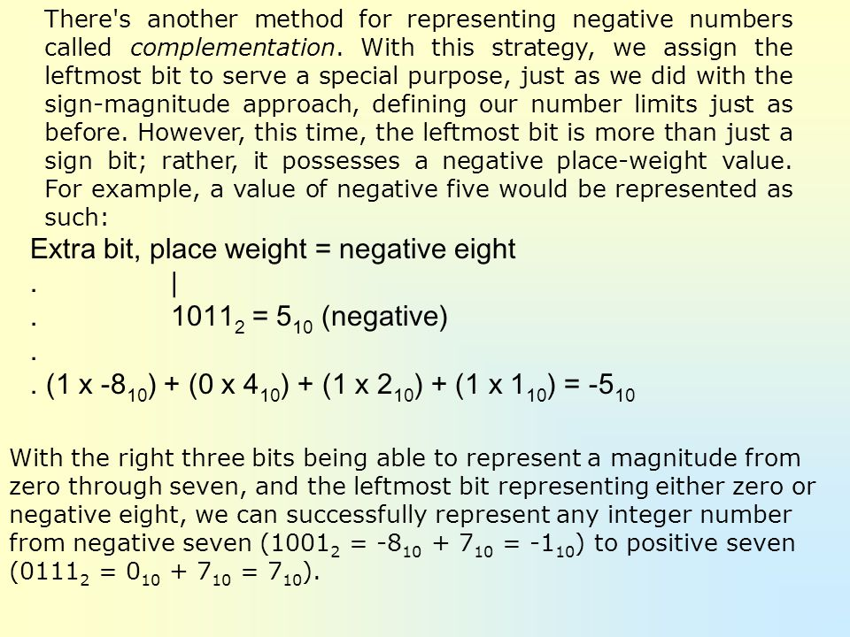 Extra bit, place weight = negative eight . | . 10112 = 510 (negative)