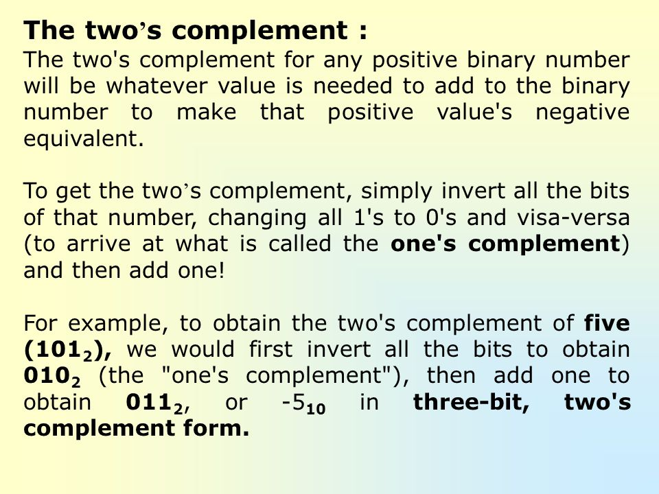 The two's complement :