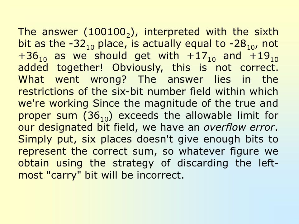 The answer ( ), interpreted with the sixth bit as the place, is actually equal to -2810, not as we should get with and added together.