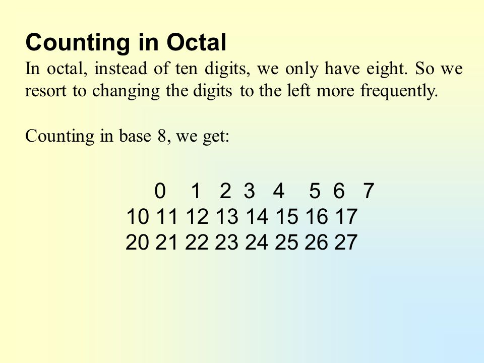 Counting in Octal In octal, instead of ten digits, we only have eight. So we resort to changing the digits to the left more frequently.