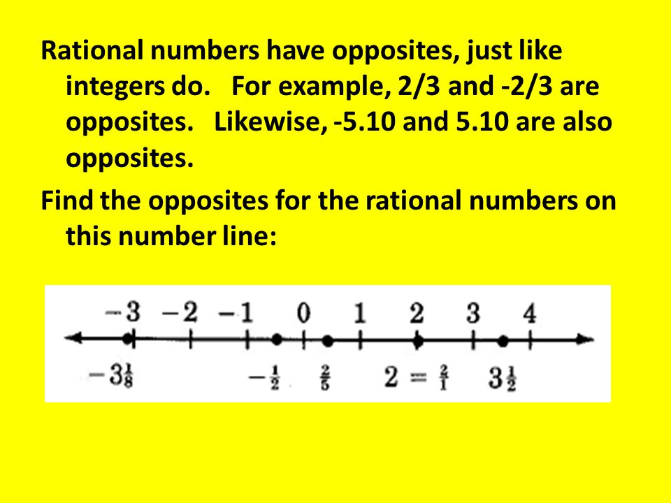 Rational numbers have opposites, just like integers do