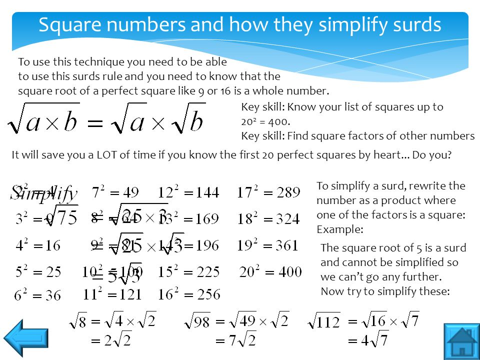 Square numbers and how they simplify surds