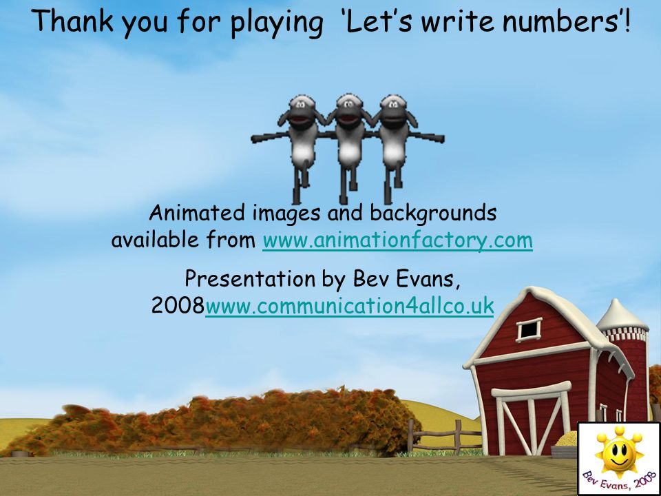 Thank you for playing 'Let's write numbers'!