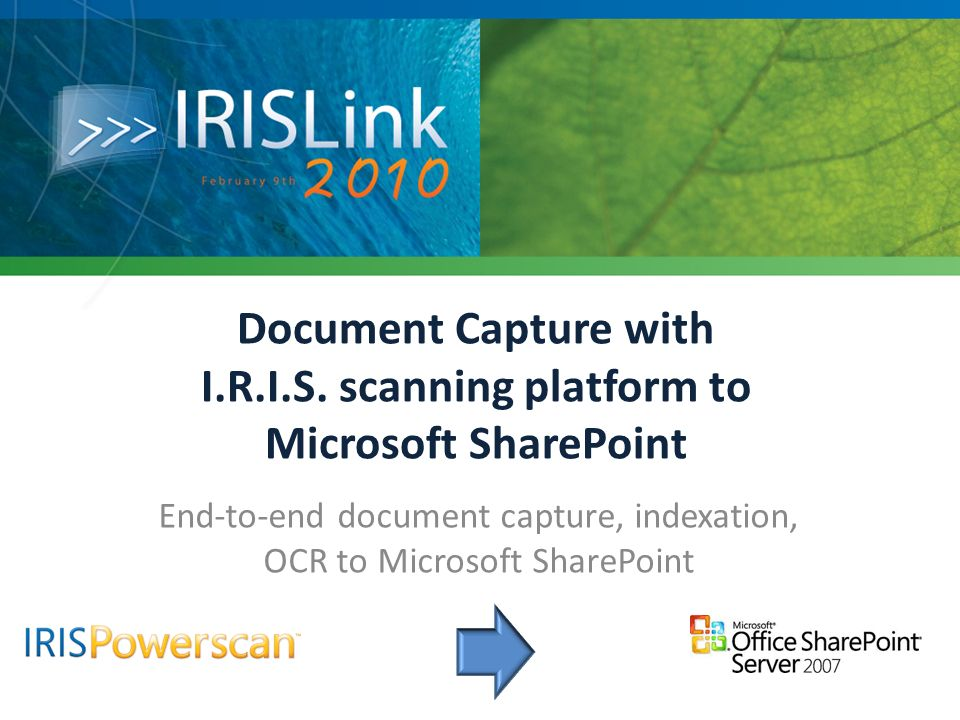 End-to-end document capture, indexation, OCR to Microsoft SharePoint
