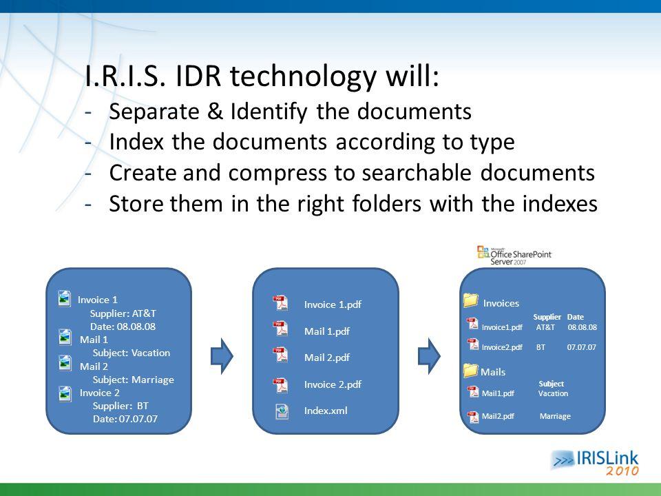 I.R.I.S. IDR technology will: