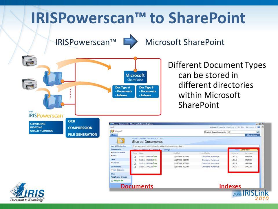 IRISPowerscan™ to SharePoint