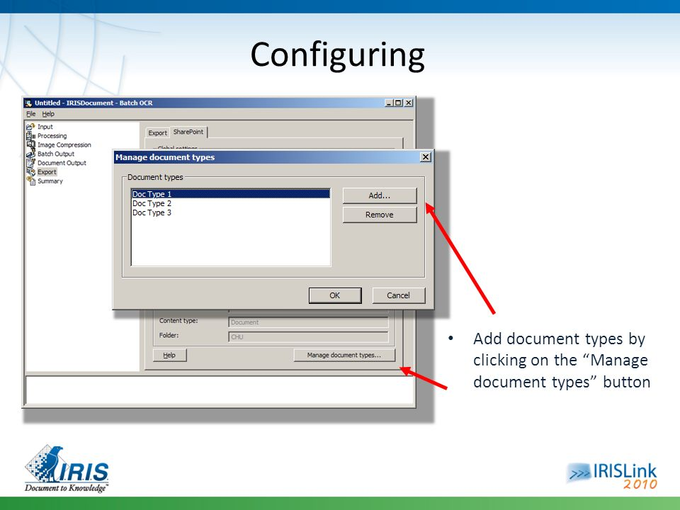 Configuring Add document types by clicking on the Manage document types button