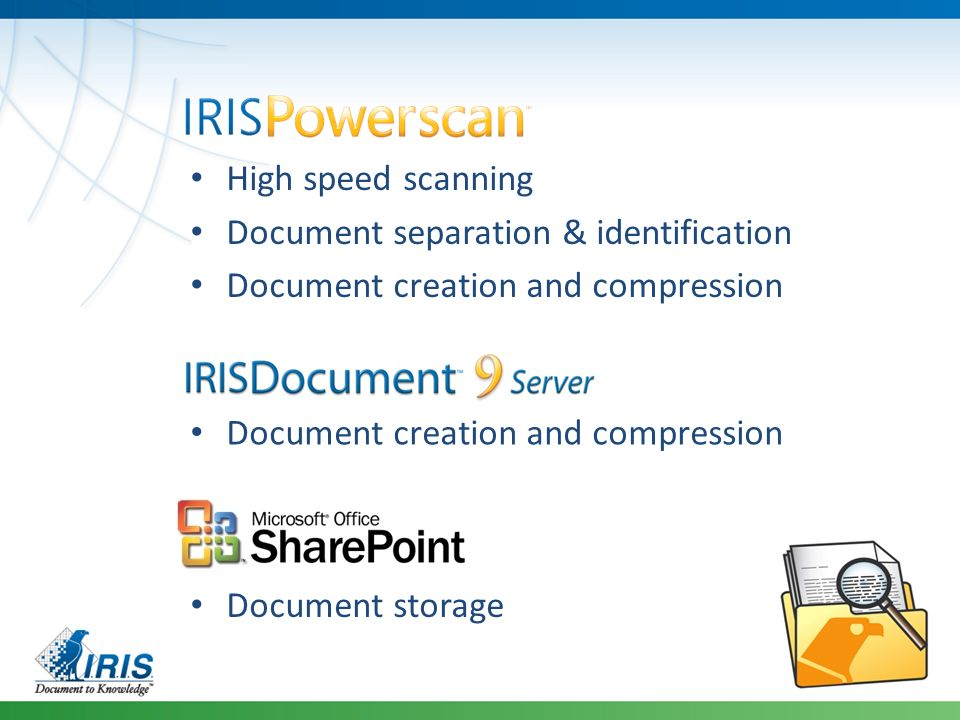 High speed scanning Document separation & identification. Document creation and compression. Document creation and compression.