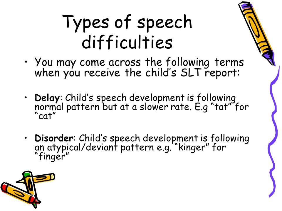 Types of speech difficulties