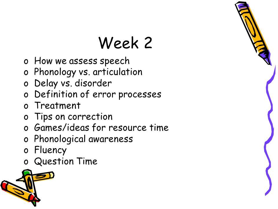 Week 2 How we assess speech Phonology vs. articulation