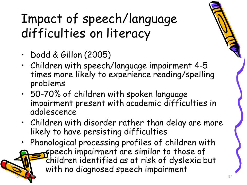 Impact of speech/language difficulties on literacy