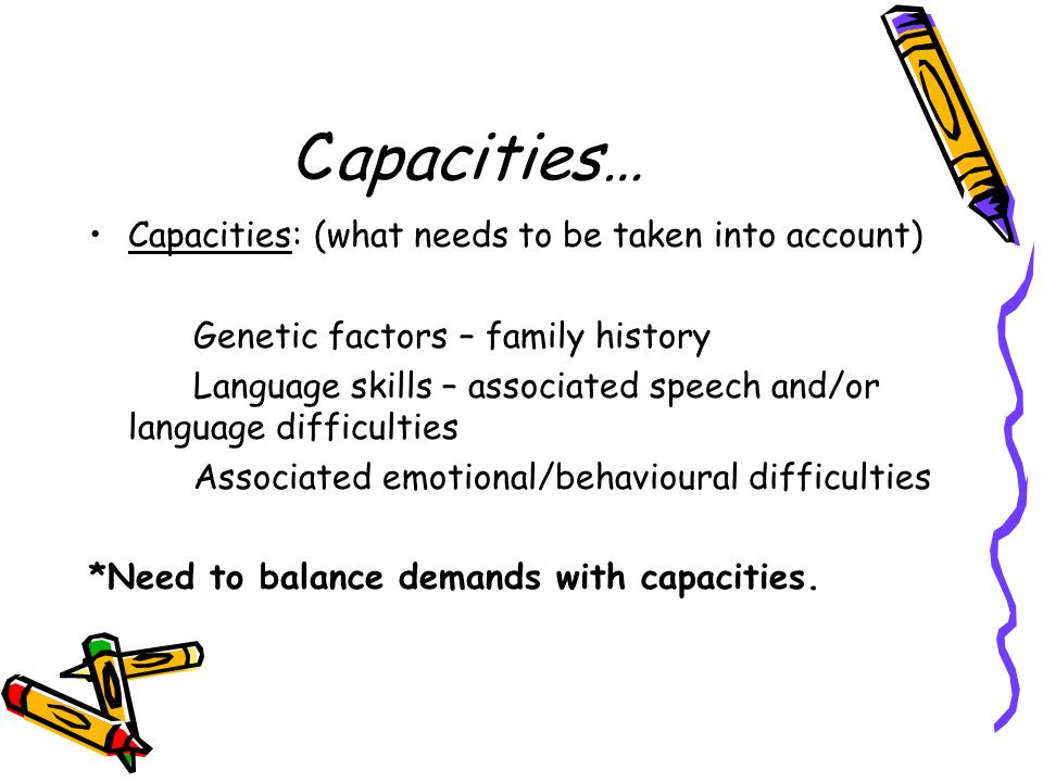 Capacities… Capacities: (what needs to be taken into account)