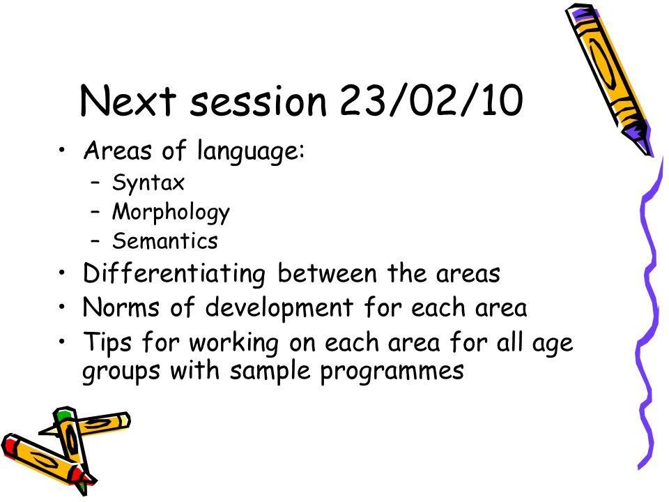 Next session 23/02/10 Areas of language: