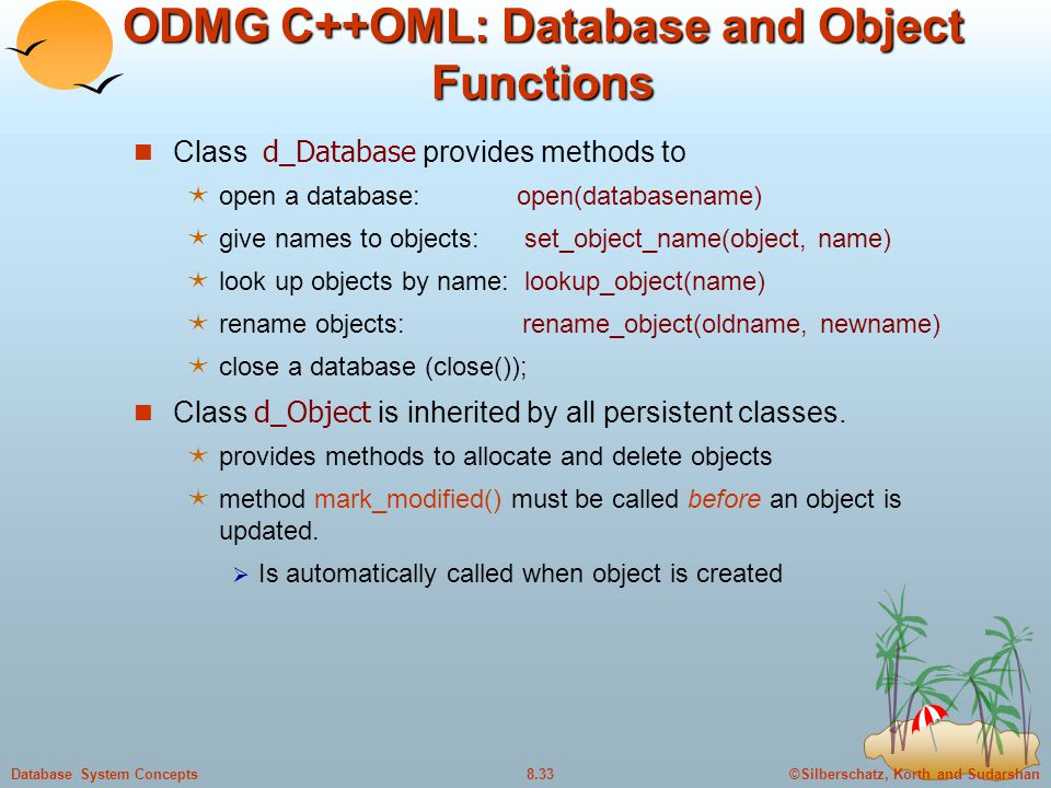 ODMG C++OML: Database and Object Functions