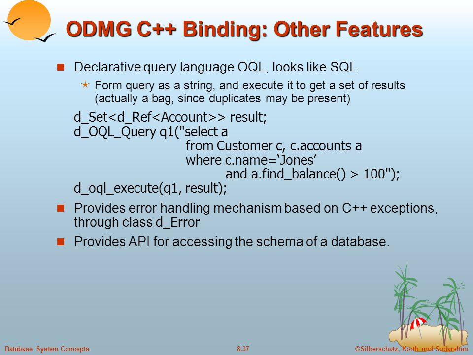 ODMG C++ Binding: Other Features