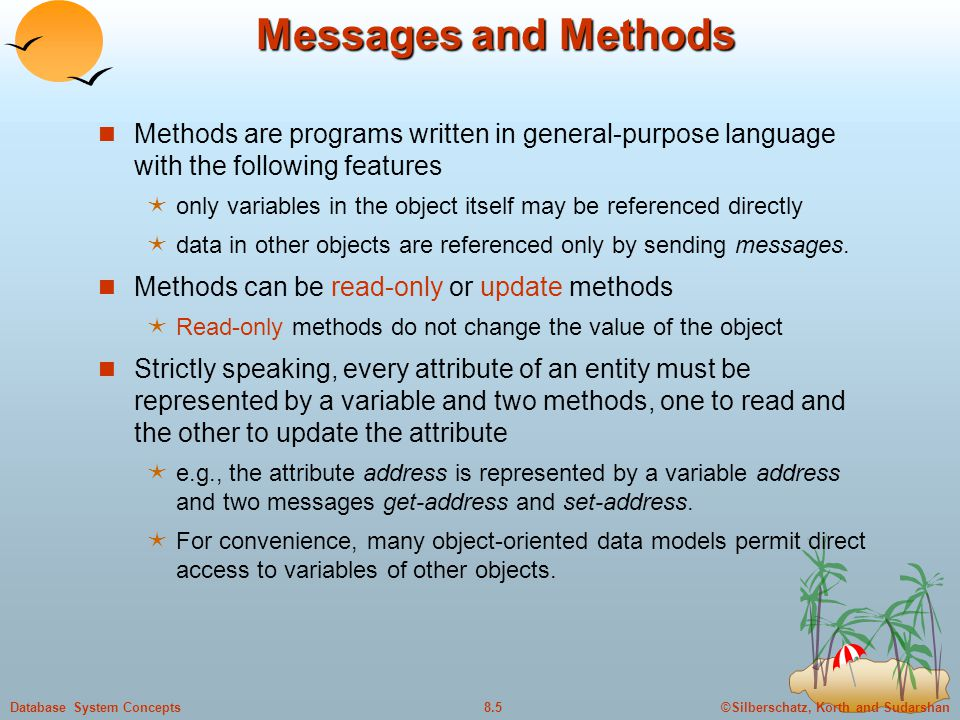 Messages and Methods Methods are programs written in general-purpose language with the following features.