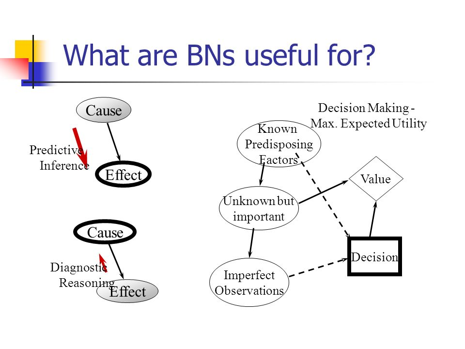 What are BNs useful for Cause Effect Cause Effect Decision Making -