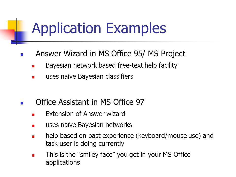 Application Examples Answer Wizard in MS Office 95/ MS Project