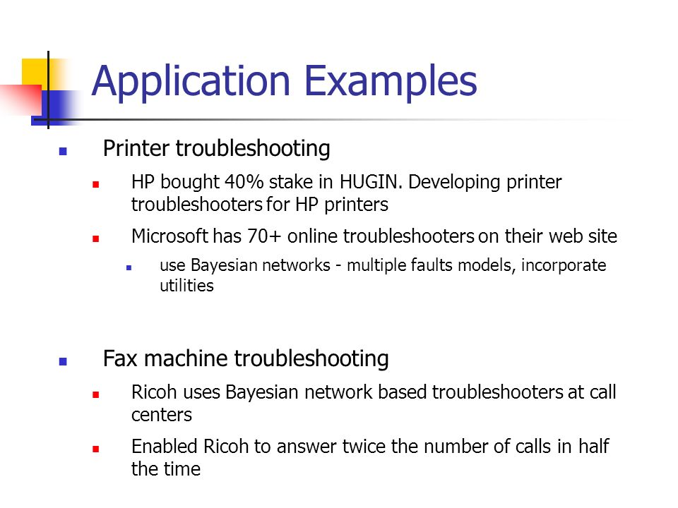 Application Examples Printer troubleshooting