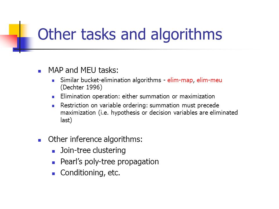 Other tasks and algorithms