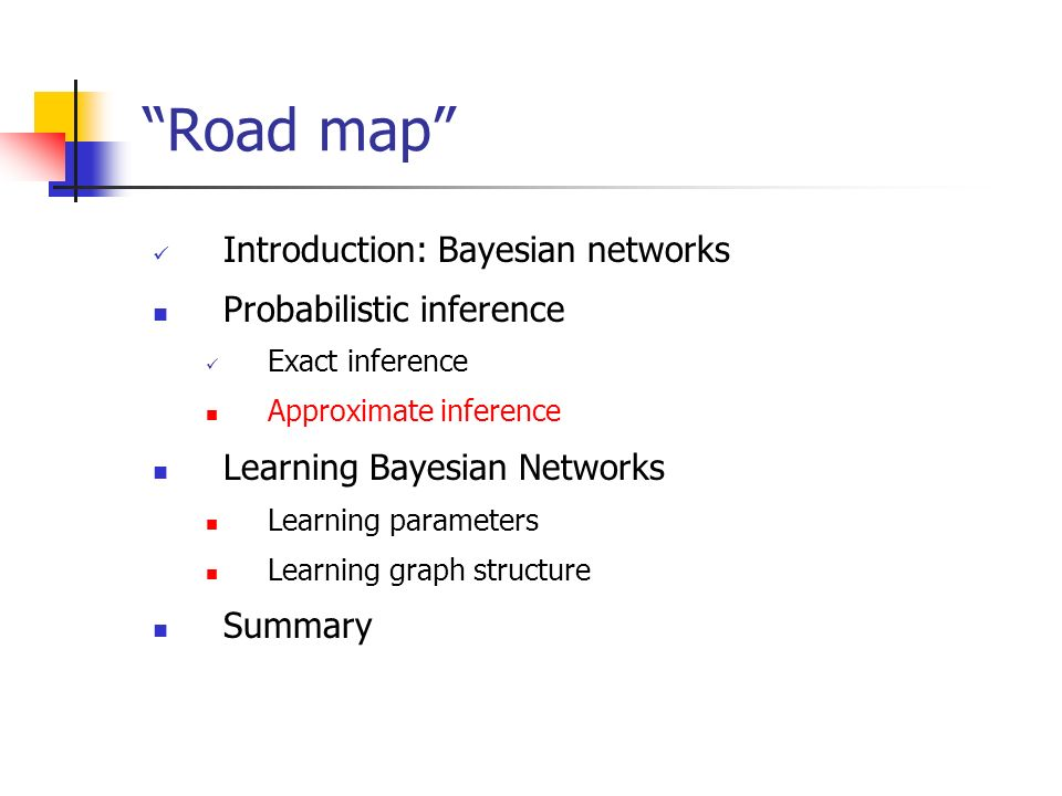 Road map Introduction: Bayesian networks Probabilistic inference