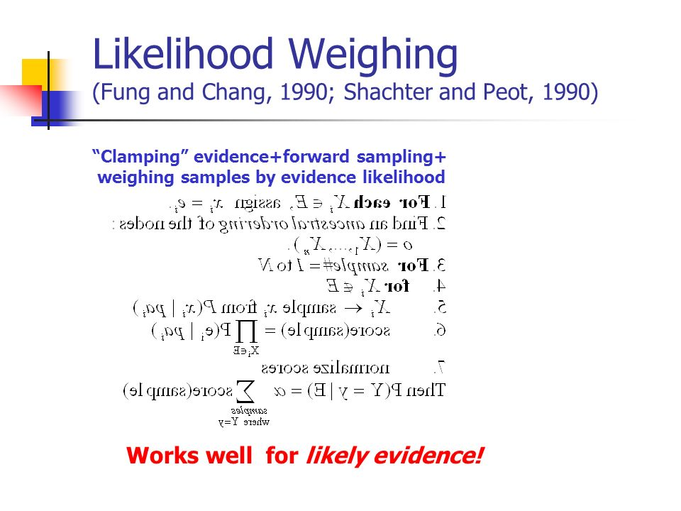 Likelihood Weighing (Fung and Chang, 1990; Shachter and Peot, 1990)