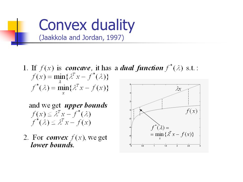 Convex duality (Jaakkola and Jordan, 1997)